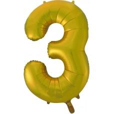 Воздушный шар (34''86 см) Цифра, 3, Золото, 1 шт.