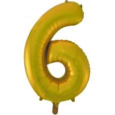 Воздушный шар (34''86 см) Цифра, 6, Золото, 1 шт.