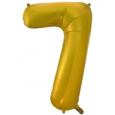 Воздушный шар (34''86 см) Цифра, 7, Золото, 1 шт.