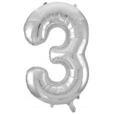 Шар (34''86 см) Цифра, 3, Серебро, 1 шт.