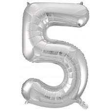 Шар (34''86 см) Цифра, 5, Серебро, 1 шт.