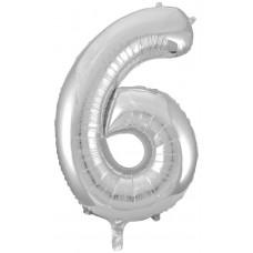 Шар (34''86 см) Цифра, 6, Серебро, 1 шт.