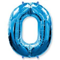 Шар (40''102 см) Цифра, 0, Синий, 1 шт.