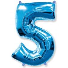 Шар (40''102 см) Цифра, 5, Синий, 1 шт.