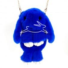 Сумка - рюкзак Синяя (натур. мех)