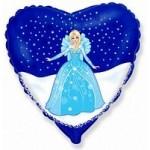 Шар (18'46 см) Сердце, Снежная королева, 1 шт.
