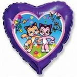 Шар (18'46 см) Сердце, Счастливые котята, Фиолетовый, 1 шт.