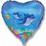 Шар (18'46 см) Сердце, Счастливый дельфин, Голубой, 1 шт