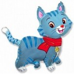 Шар (32/81 см) Фигура, Любимый котенок, Синий, 1 шт.