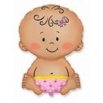 Шар (13/33 см) Мини-фигура, Малышка девочка, Розовый, 1 шт.