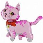 Шар (13/33 см) Мини-фигура, Милый котенок, Розовый, 1 шт.