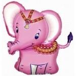 Шар (34/86 см) Фигура, Слоненок, Розовый, 1 шт.