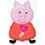 Шар (32/81 см) Фигура, Поросенок с сердцем, Розовый, 1 шт.
