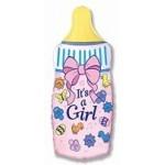 Шар (14/36 см) Мини-фигура, Бутылочка для девочки, Розовый, 1 шт.
