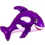 Шар (14/36 см) Мини-фигура, Веселый кит, Фиолетовый, 1 шт.