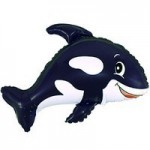 Шар (14/36 см) Мини-фигура, Веселый кит, Черный, 1 шт.