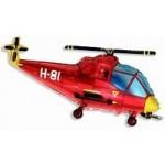 Шар (38/97 см) Фигура, Вертолет, Красный, 1 шт.