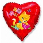 Шар (18'46 см) Сердце, Влюбленный котенок, Красный, 1 шт.