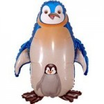 Шар (39/99 см) Фигура, Пингвин, Синий, 1 шт.