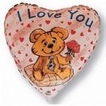 Шар (18'46 см) Сердце, Влюбленный медведь, 1 шт.