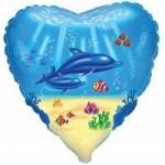 Шар (18'46 см) Сердце, Дельфинья семья, Голубой, 1 шт.