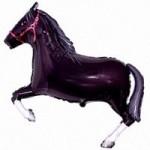 Шар (42/107 см) Фигура, Лошадь, Черный, 1 шт.