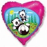 Шар (18'46 см) Сердце, Забавная панда, Фуше, 1 шт.