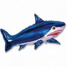 Шар (42/107 см) Фигура, Страшная акула, Синий, 1 шт