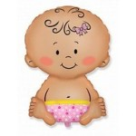 Шар (26/66 см) Фигура, Малышка девочка, Розовый, 1 шт.