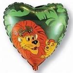 Шар (18/46 см) Сердце, Король-лев, Зеленый, 1 шт.