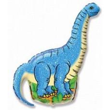 Шар (43/109 см) Фигура, Динозавр диплодок, Синий, 1 шт.