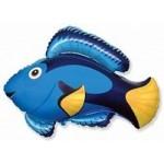 Шар (14/36 см) Мини-фигура, Рыба, Голубой, 1 шт.