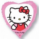 Шар (18'46 см) Сердце, Котенок с бантиком, Розовый, 1 шт.