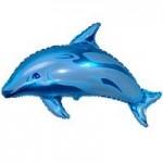 Шар (15/38 см) Мини-фигура, Дельфин фигурный, Синий, 1 шт.
