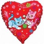 Шар (18'46 см) Сердце, Милые котята, Красный, 1 шт.