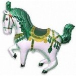 Шар (15/38 см) Мини-фигура, Лошадь карусельная, Зеленый, 1 шт.