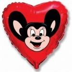 Шар (18'46 см) Сердце, Могучий мышонок, Красный, 1 шт.