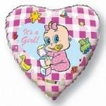 Шар (18'46 см) Сердце, Новорожденная девочка, Розовый, 1 шт.