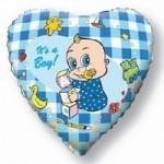 Шар (18'46 см) Сердце, Новорожденный мальчик, Голубой, 1 шт.