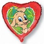 Шар (18'46 см) Сердце, Прыгающая собака, Красный, 1 шт.
