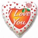 Шар (18'46 см) Сердце, Роза любви, Белый, 1 шт.