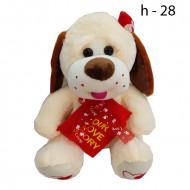 Мягкая собачка с красным бантиком