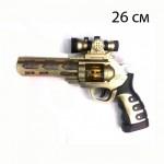 Пистолет револьвер с прицелом, музыкальный, светящийся