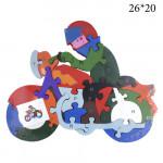 Деревянный пазл Азбука Мотоциклист