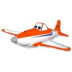 Шар (16''/41 см) Мини-фигура, Гоночный самолет, Оранжевый, 1 шт.