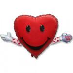 Воздушный шар (17''/43 см) Мини-фигура, Любовь и объятия, Красный, 1 шт.