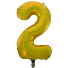 Воздушный шар (34''86 см) Цифра, 2, Золото, 1 шт.