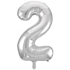 Воздушный шар (34''86 см) Цифра, 2, Серебро, 1 шт.