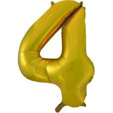 Воздушный шар (34''86 см) Цифра, 4, Золото, 1 шт.