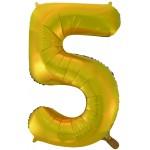 Воздушный шар (34''86 см) Цифра, 5, Золото, 1 шт.